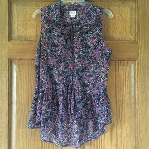 Mossimo Sheer Floral Sleeveless Button-up XL